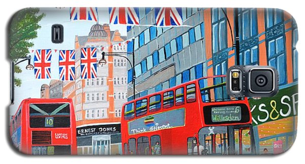Galaxy S5 Case featuring the painting Oxford Street- Queen's Diamond Jubilee  by Magdalena Frohnsdorff