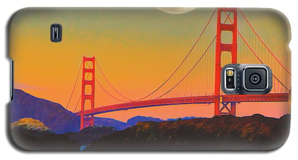 Galaxy S5 Case featuring the painting Pacific Sunset - Golden Gate Bridge And Moonrise by Douglas MooreZart