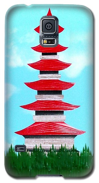 Galaxy S5 Case featuring the mixed media Pagoda by Ron Davidson