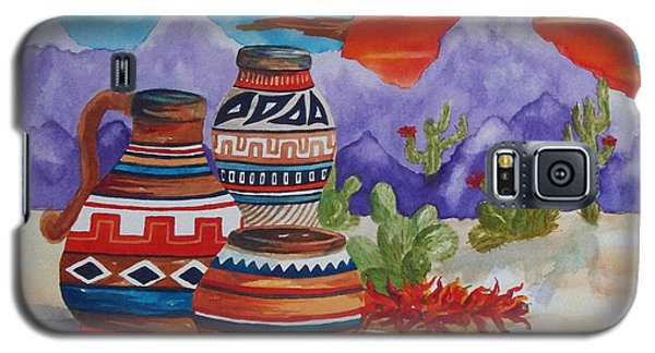 Painted Pots And Chili Peppers Galaxy S5 Case by Ellen Levinson