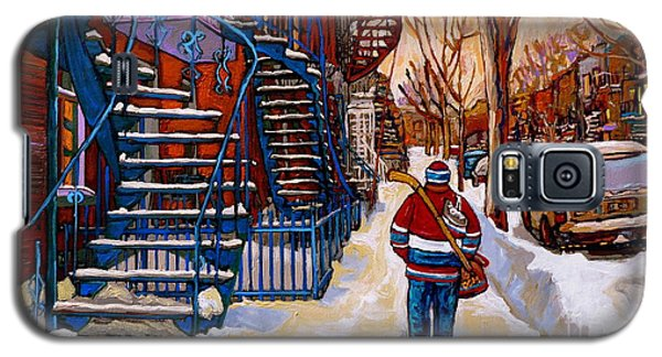 Paintings Of Montreal Beautiful Staircases In Winter Walking Home After The Game By Carole Spandau Galaxy S5 Case