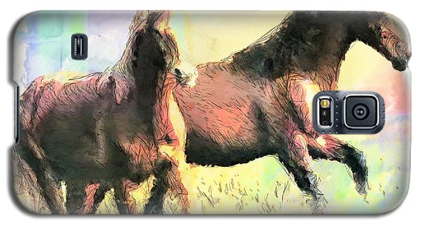 Galaxy S5 Case featuring the painting Pair Of Horses by Wayne Pascall