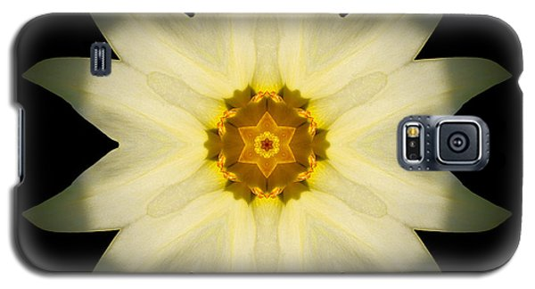 Galaxy S5 Case featuring the photograph Pale Yellow Daffodil Flower Mandala by David J Bookbinder