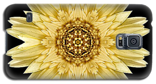 Galaxy S5 Case featuring the photograph Pale Yellow Gerbera Daisy I Flower Mandala by David J Bookbinder