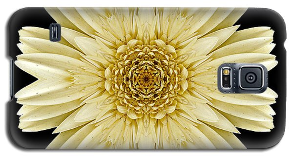 Galaxy S5 Case featuring the photograph Pale Yellow Gerbera Daisy IIi Flower Mandala by David J Bookbinder