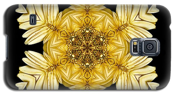 Galaxy S5 Case featuring the photograph Pale Yellow Gerbera Daisy Vii Flower Mandalaflower Mandala by David J Bookbinder