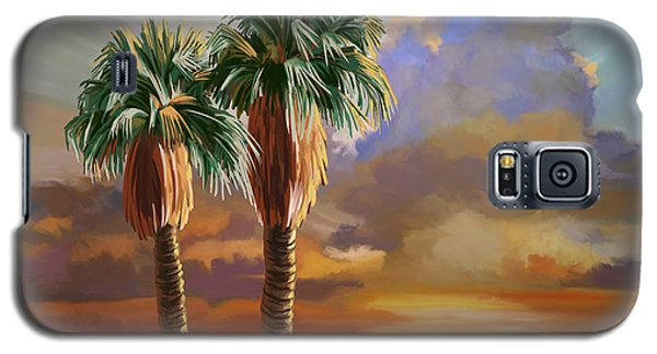 Galaxy S5 Case featuring the painting Palm Tree Cabo Sunset by Tim Gilliland