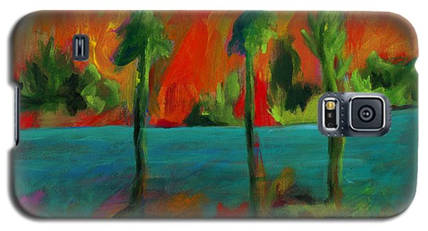 Galaxy S5 Case featuring the painting Palm Trio Sunset by Elizabeth Fontaine-Barr