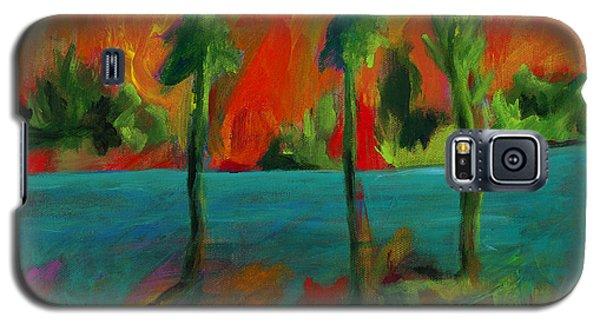 Palm Trio Sunset Galaxy S5 Case by Elizabeth Fontaine-Barr