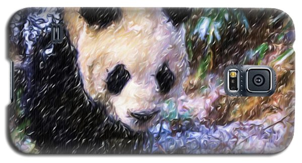 Galaxy S5 Case featuring the painting Panda Bear Walking In Forest by Lanjee Chee