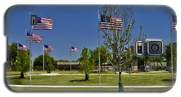 Galaxy S5 Case featuring the photograph Panorama Of Flags - Veterans Memorial Park by Allen Sheffield