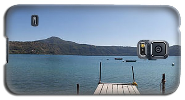 panorama of Lake Albano including pontoon and red rowing boat Galaxy S5 Case