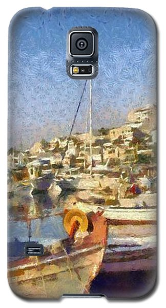 Panoramic Painting Of Mikrolimano Port Galaxy S5 Case