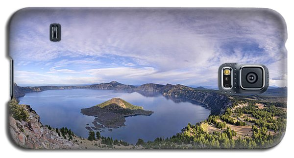 Galaxy S5 Case featuring the photograph Panoramic View Of Crater Lake And Wizard Island by Sebastien Coursol