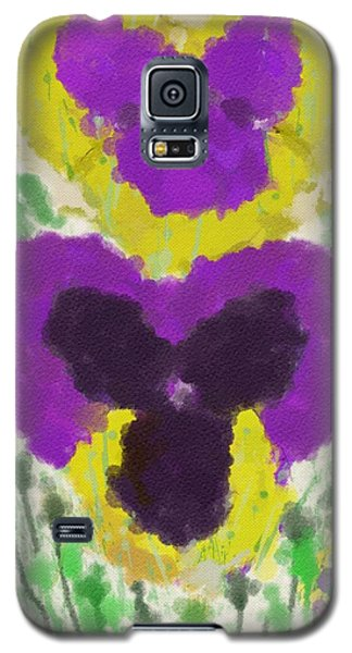Galaxy S5 Case featuring the digital art Pansies by Mary M Collins