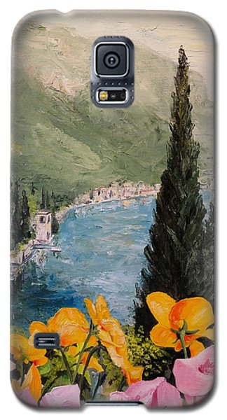Galaxy S5 Case featuring the painting Pansies On Lake Como by Alan Lakin