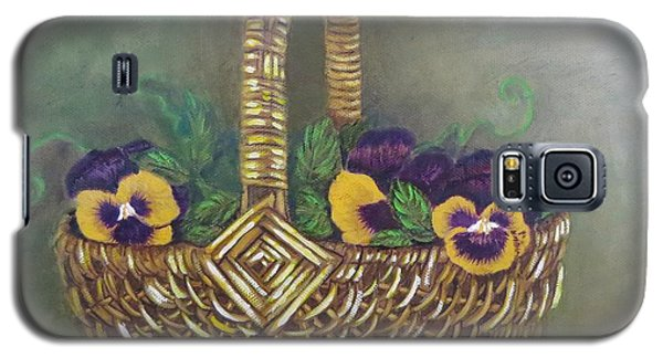 Galaxy S5 Case featuring the painting Pansy Basket Sherry Nelson Study by Sharon Schultz