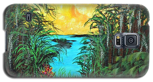 Galaxy S5 Case featuring the painting Panther Island In The Bayou by Alys Caviness-Gober