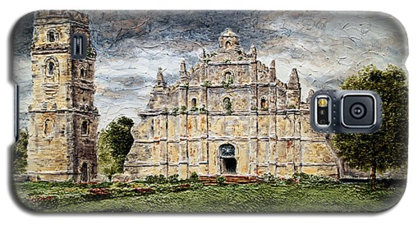 Galaxy S5 Case featuring the painting Paoay Church by Joey Agbayani