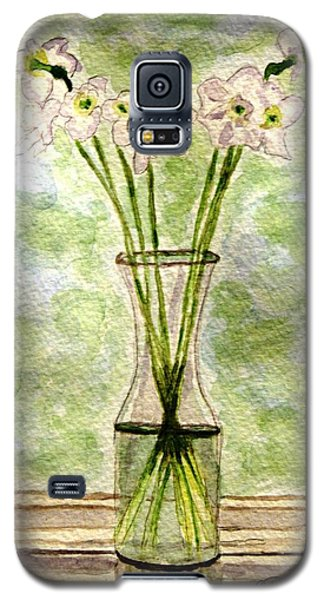 Galaxy S5 Case featuring the painting Paper Whites In Sunlight by Angela Davies