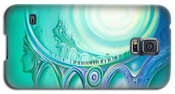 Galaxy S5 Case featuring the painting Parallel Ways by Anna Ewa Miarczynska
