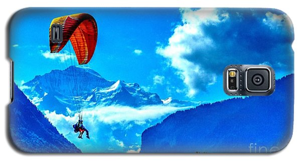 Galaxy S5 Case featuring the photograph Parasailing Swiss Alps by Joe  Ng