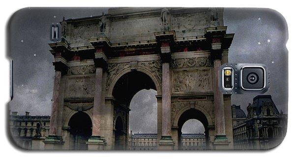 Paris Arc Du Carousel - Louvre Museum Arc De Triomphe - Starry Night Blue Paris Louvre Courtyard Galaxy S5 Case by Kathy Fornal
