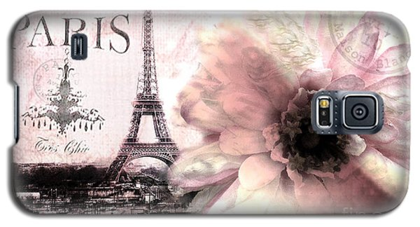 Paris Eiffel Tower Montage - Paris Romantic Pink Sepia Eiffel Tower Flower French Cottage Decor  Galaxy S5 Case