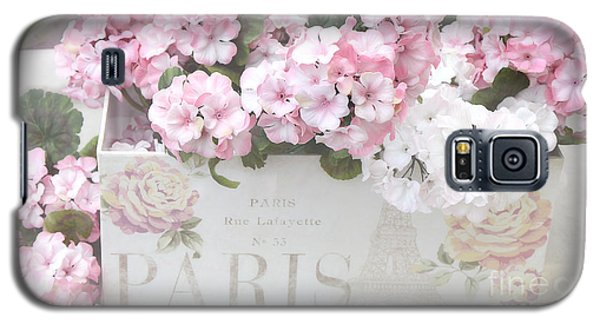 Paris Pink Flowers, Parisian Shabby Chic Paris Flower Box - Paris Floral Decor Galaxy S5 Case