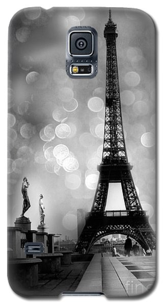 Paris Eiffel Tower Surreal Black And White Photography - Eiffel Tower Bokeh Surreal Fantasy Night  Galaxy S5 Case by Kathy Fornal