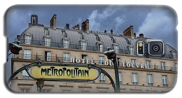 Paris Metropolitain Sign At The Paris Hotel Du Louvre Metropolitain Sign Art Noueveau Art Deco Galaxy S5 Case by Kathy Fornal