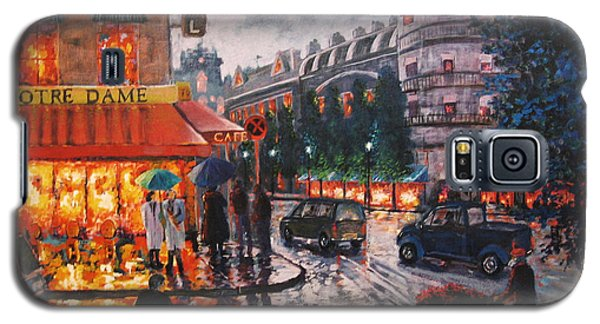 Galaxy S5 Case featuring the painting Paris In The Rain by Cheryl Del Toro
