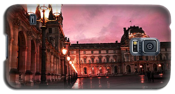 Paris Louvre Museum Night Architecture Street Lamps - Paris Louvre Museum Lanterns Night Lights Galaxy S5 Case by Kathy Fornal