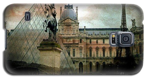 Paris Louvre Museum Pyramid Architecture - Eiffel Tower Photo Montage Of Paris Landmarks Galaxy S5 Case