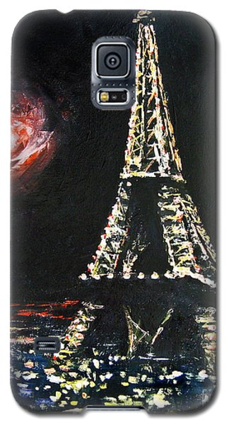 Galaxy S5 Case featuring the painting Paris Night by Cheryl Del Toro