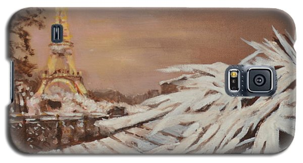 Galaxy S5 Case featuring the painting Paris Sous La Neige by Julie Todd-Cundiff