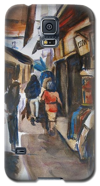 Galaxy S5 Case featuring the painting Paris Street Scene by Melinda Saminski