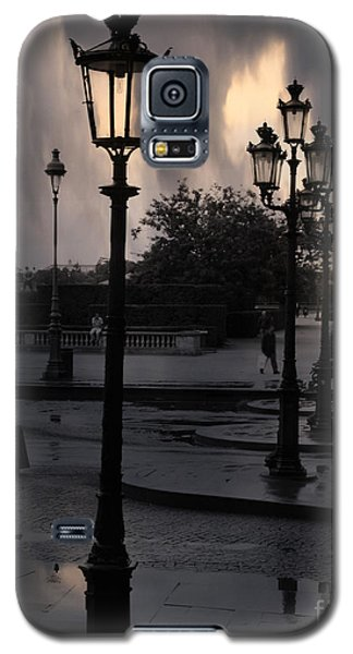 Paris Surreal Louvre Museum Street Lanterns Lamps - Paris Gothic Street Lamps Black Clouds Galaxy S5 Case by Kathy Fornal