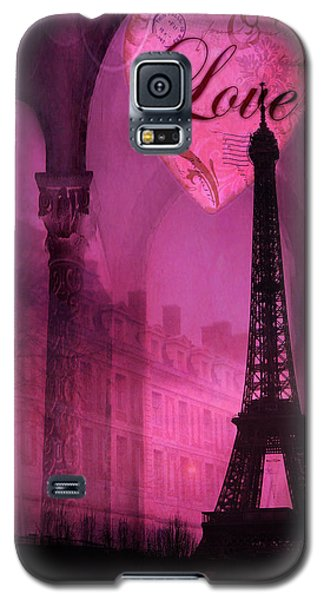 Paris Romantic Pink Fantasy Love Heart - Paris Eiffel Tower Valentine Love Heart Print Home Decor Galaxy S5 Case