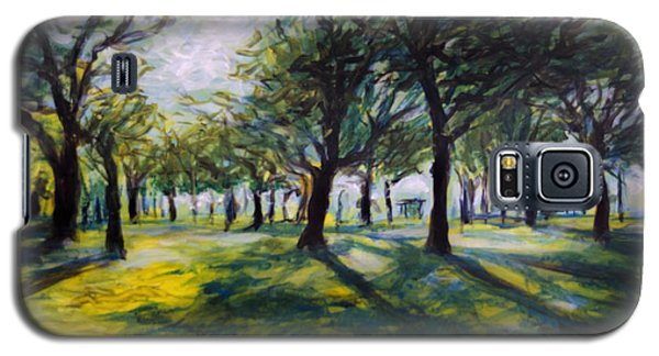 Galaxy S5 Case featuring the painting Park Trees by Ron Richard Baviello