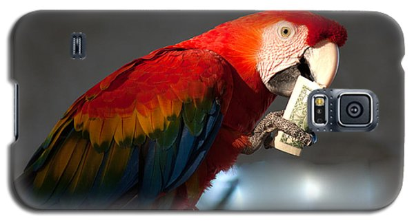 Galaxy S5 Case featuring the photograph Parrot Eating 1 Dollar Bank Note by Gunter Nezhoda