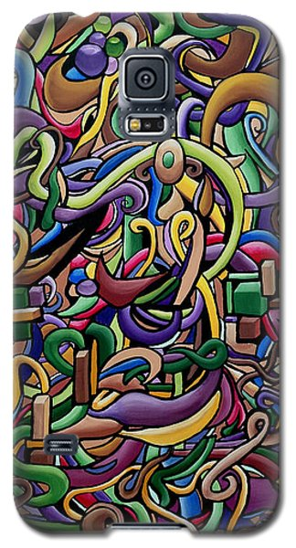 Colorful Abstract Illusion Artwork Painting, Cosmic Energy Flow Art, Music Frequency Galaxy S5 Case