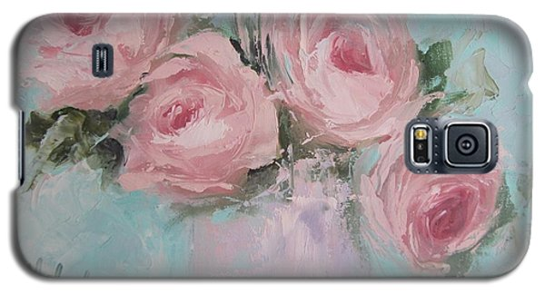 Pastel Pink Roses Painting Galaxy S5 Case by Chris Hobel
