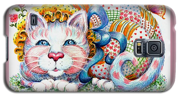 Galaxy S5 Case featuring the drawing Patchwork Patty Catty by Dee Davis