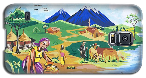 Galaxy S5 Case featuring the painting Paysage Du Nord Du Rwanda by Emmanuel Baliyanga