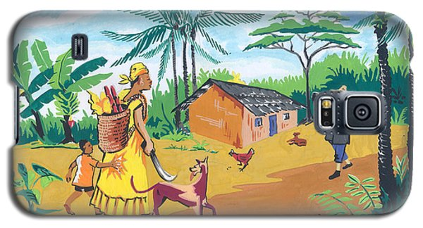 Galaxy S5 Case featuring the painting Paysage Du Sud Du Cameroon by Emmanuel Baliyanga