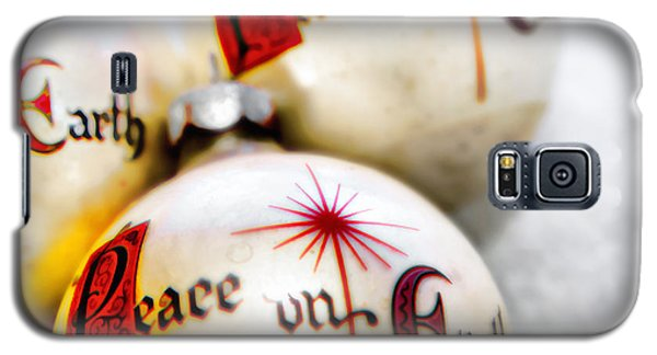 Galaxy S5 Case featuring the photograph Antique Peace On Earth Christmas Decorations by Vizual Studio
