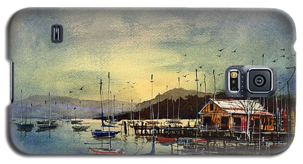 Galaxy S5 Case featuring the painting Peacefully Moored by Tim Oliver