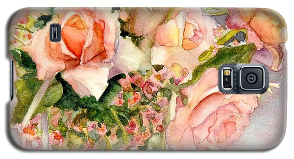 Galaxy S5 Case featuring the painting Peach Roses In Vase by Bonnie Rinier