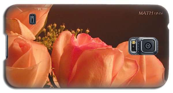 Peach Roses With Scripture Galaxy S5 Case by Sandi OReilly